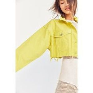 Urban outfitters cropped neon denim jacket
